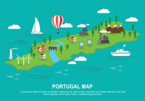 Carte graphique du Portugal Illustration vectorielle vecteur