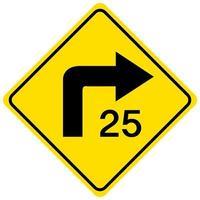 Panneau jaune de vitesse de virage consultatif sur fond blanc