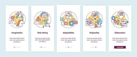 écran de la page de l'application mobile d'intégration des compétences de pensée créative vecteur