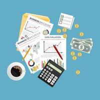 audit de fond de concept avec des objets de bureau vecteur