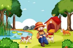 fermier avec ferme d & # 39; animaux en scène de ferme en style cartoon vecteur
