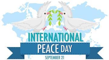 logo de la journée internationale de la paix ou bannière avec colombe blanche sur la carte du monde vecteur