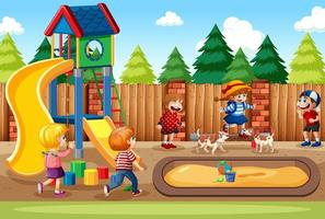 enfants jouant dans la scène de la cour de récréation vecteur