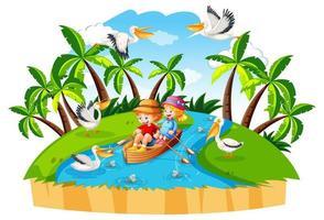 Enfants ramer le bateau dans la scène de la forêt de ruisseau sur fond blanc vecteur