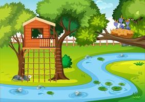 scène de parc naturel en style cartoon vecteur