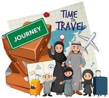 famille arabe en vacances vecteur