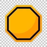 panneau de signalisation jaune vide sur fond transparent