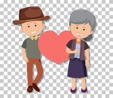 vieux couple en position debout isolé sur fond transparent