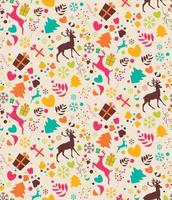 modèle sans couture avec arbres de Noël, rennes, coffrets cadeaux vecteur