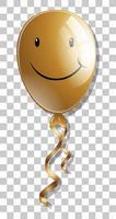sourire sur ballon doré isolé sur fond transparent vecteur
