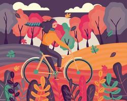 femme vêtue de vêtements d'automne à vélo vecteur