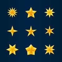 collection d'icônes étoile d'or vecteur