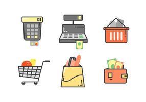 Vecteurs de chariot de supermarché exclusifs gratuits vecteur