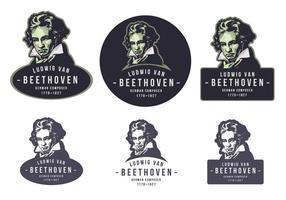 Beethoven Vintage Emblem Logo vecteur