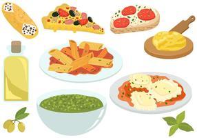 Vecteurs de nourriture italiens gratuits vecteur