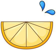 un morceau de citron sur fond blanc vecteur