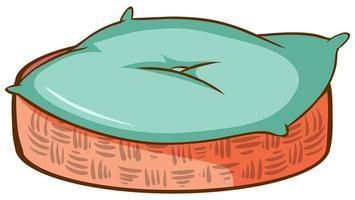 panier avec tapis bleu pour animal de compagnie vecteur