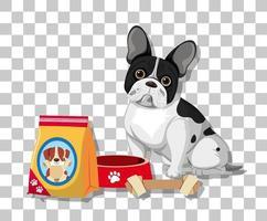 Bouledogue français en position assise personnage de dessin animé avec de la nourriture pour chien isolé sur fond transparent