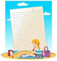 thème d'été de modèle de note de papier vierge