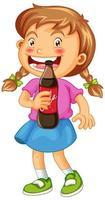fille heureuse tenant une boisson gazeuse vecteur