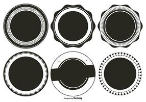 Collection en forme de badge rétro en blanc