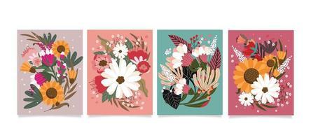 fleurs super belles et colorées vecteur