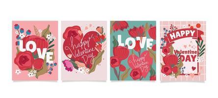 concept de carte Saint Valentin de coeur et fleurs vecteur