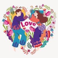 s'aiment avec des fleurs entourées vecteur