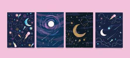 carte étoile avec constellations vecteur