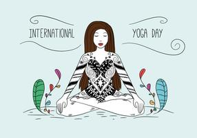 Pose de femme de yoga avec des ornements et des feuilles colorées vecteur