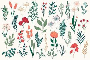 lot d'éléments décoratifs floraux dessinés à la main.