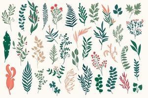 ensemble d'éléments décoratifs floraux dessinés à la main. vecteur