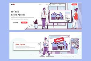 ensemble de pages de destination pour agence immobilière vecteur