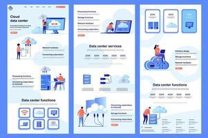 page de destination plate du centre de données cloud vecteur