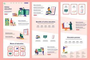 page de destination plate pour l'enseignement à distance vecteur