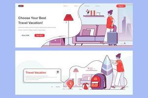 ensemble de pages de destination de vacances de voyage vecteur