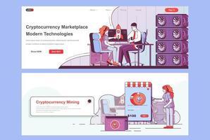 ensemble de pages de destination du marché de crypto-monnaie vecteur
