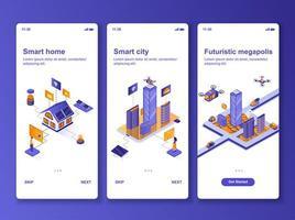 kit de conception isométrique de maison intelligente vecteur