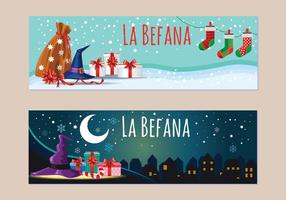 Bannière de Befana. Tradition de Noël italienne vecteur