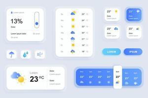 éléments gui pour l'application mobile de prévisions météorologiques vecteur