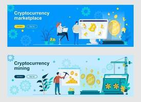 page de destination d'extraction et de trading de crypto-monnaie avec des personnages vecteur