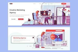 ensemble de pages de destination pour une agence de marketing créatif
