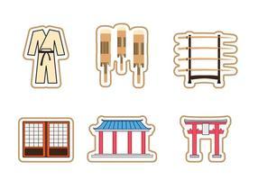Ensemble d'icônes de temple intérieur Dojo vecteur
