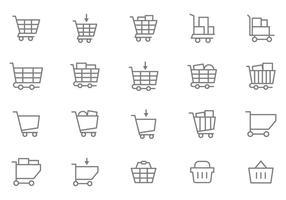 Vecteurs de panier de supermarchés gratuits vecteur