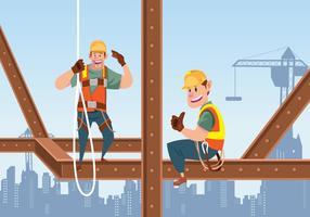 Deux ouvriers de la construction sur le vignette vecteur
