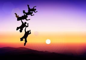 Silhouette de parachutisme coucher de soleil action vecteur libre