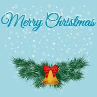 bannière de Noël avec des branches de sapin et une cloche avec un arc
