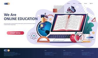 modèle de page de destination plate pour l'éducation en ligne vecteur