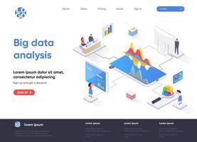 page de destination isométrique d'analyse de big data vecteur