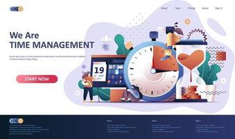 modèle de page de destination plate de gestion du temps